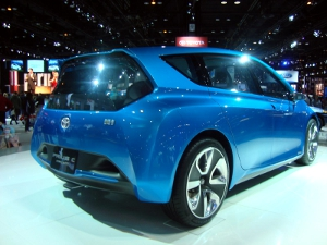 Tail-end photo of a Toyota Prius C on display at the 2010 Detroit Auto Show.