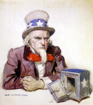 An upset Uncle Sam contemplates and empty U.S. Treasury, depicted as an empty safe.