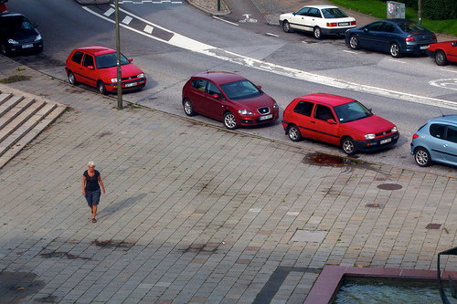Woman parked