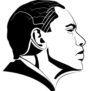 Black-and-white vector graphic of President Obama's right profile.
