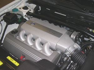 Close-up of a Volvo V8 engine from a 2006 XC90.