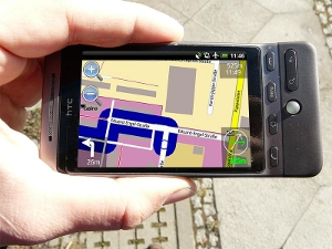 Close-up of a navigation app on an Android phone.
