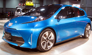A 2011 Toyota Prius C concept vehicle at an auto show.