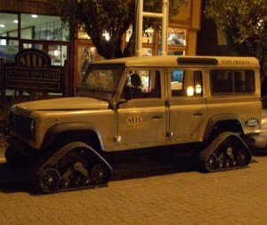 Land Rover with tracks instead of tires