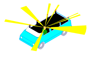 Illustration of how a driver can have multiple blind spots.