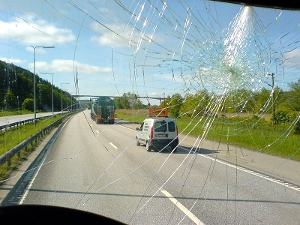 View through a cracked car windshield.