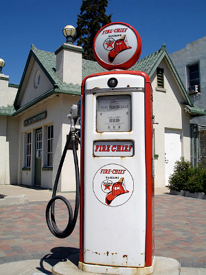 An old-fashioned gasoline pump.