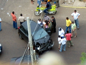A car crash in Maracaibo, Calle 66 con Ave 9.