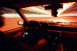 This is about a five-minute exposure at F/22 of someone driving a Volvo 740.