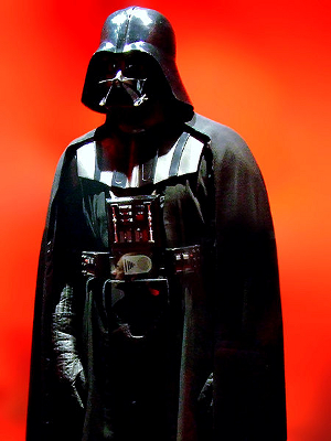 Darth Vader costume on display at a museum.
