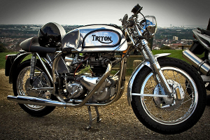 "A Triumph engine in a Norton ""featherbed"" frame, polished to a shine."
