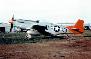 "A P51 Mustang ""Red Tails"" fighter plane."